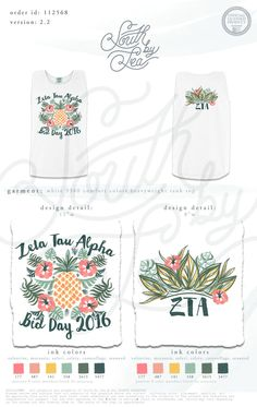 Zeta Tau Alpha | ZTA | Bid Day | Pineapple Design | Tropical Design | Recruitment | Sisterhood | South by Sea | Greek Tee Shirts | Greek Tank Tops | Custom Apparel Design | Custom Greek Apparel | Sorority Tee Shirts | Sorority Tanks | Sorority Shirt Designs