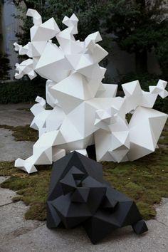 FENDI and Aranda\Lasch present Modern Primitives: An installation combining technology, craftsmanship and tradition Geometric Designs, Geometric Shapes, Contemporary Sculpture, Contemporary Art, Abstract Sculpture, Sculpture Art, Modern Primitives, Instalation Art, Math Art