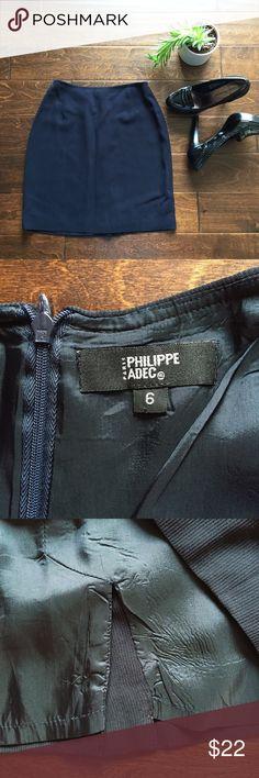 "🍄 Dark Blue Ribbed Pencil Skirt 🍄 ""Very"" dark blue ribbed textured pencil skirt. Zipper in back. Satin liner slip. Like new condition. Waist across: 12"", lengthy: 18"". 5"" slit in back. Philippe Adec Skirts Pencil"