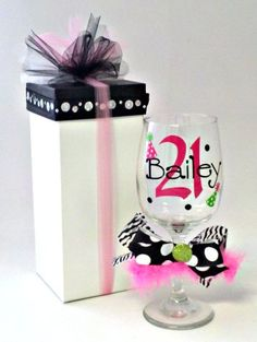 She will LOVE drinking her first (legal) sip out of her very own personalized 21st Birthday wine glass. Comes with cute gift box. $25