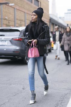 Crop Frayed Jeans is a major spring trend...With a Leather Jacket, Black Beanie, Gray Socks, and White Heels