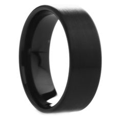 8 Mm Mens Black Tungsten Carbide Rings Wedding Bands Pipe Cut With Brushed Finish