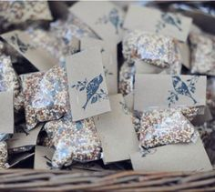 Bird seed favors with stamp. Intimateweddings.com