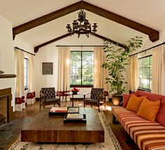 love these beams with the vaulted ceiling