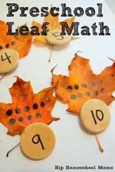 Leaf Math (from Hip Homeschool Moms)