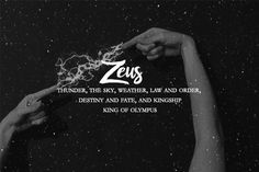 Greek Myth Series ➸ The Olympians 2 of 2 Zeus, Hera, Poseidon, Demeter, Hephaestus, Dionysus. Greek Mythology Gods, Greek Gods And Goddesses, Roman Mythology, Greek Titans, The Power Of Myth, Zeus Tattoo, Spirit Fanfic, Greek Pantheon, Percy Jackson Art