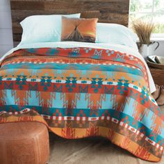 Agawam Turquoise and Orange Blanket Western Bedroom Decor, Cowboy Bedroom, Western Bedding, Rustic Bedroom Design, Western Decor, Western Bedrooms, Western Style, Bedroom Designs, Bedroom Sets