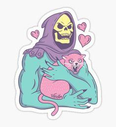 """Skeletor - Jolly Roger"" Sticker by valexn Stickers Cool, Tumblr Stickers, Anime Stickers, Cat Stickers, Japon Illustration, Aesthetic Stickers, Sticker Design, Vinyl Decals, Horror Movies"