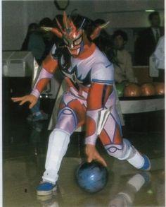 Jushin Thunder Liger bowling in his ring gear