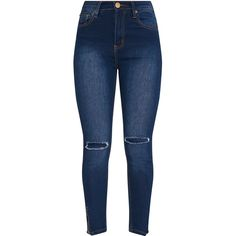 Dark Wash Knee Rip High Waisted Skinny Jean (1.135 UYU) ❤ liked on Polyvore featuring jeans, pants, high-waisted jeans, destroyed skinny jeans, high waisted distressed jeans, ripped jeans and high rise skinny jeans