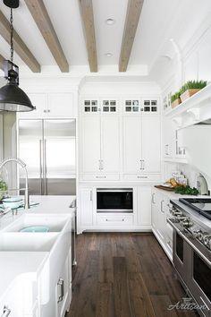 White Kitchen Dark Hardwood flooring and bleached ceiling beams White Kitchen Dark Hardwood flooring and bleached ceiling beam