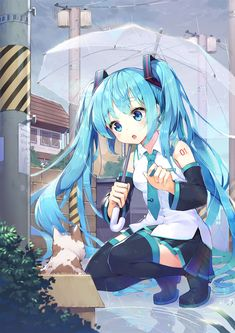 Anime picture with vocaloid hatsune miku shoonia single tall image blush open mouth breasts fringe sky cloud (clouds) holding very long hair aqua eyes aqua hair full body tattoo :o looking down squat Anime Chibi, Manga Anime, Yandere Anime, Manga Cat, Anime Cat, Anime Eyes, Fan Art Anime, Anime Art Girl, Anime Girls