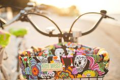 Day of the Dead Bike Basket Liner from mellowvelo on etsy.com