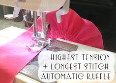 Johnnie and Angela: Deployment Homecoming Dress highest tension + longest stitch = ruffled fabric with no special sewing foot