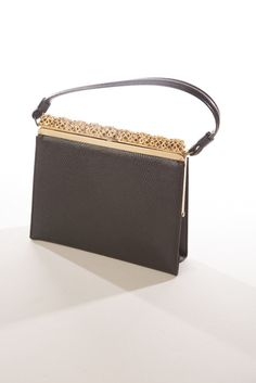 Intricate Golden Frame Black Embossed Leather Handbag Vintage Purse