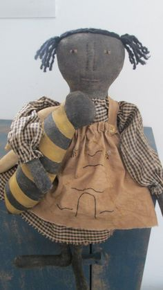 Primitive Black Doll with Bee by Bettesbabies on Etsy