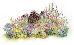 Diese fröhlich-bunte Mischung erfreut Sie den ganzen Sommer über mit Blütenreichtum. Viele runde Körbchenblüten werden von Gräsern und kerzenförmigen Blüten durchdrungen. Beetgröße: 3,5 x 2,0 m Standort: Sonne 30 Pflanzen...