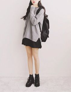 Image of: Winter Fashion Knitsweateroverdress Casual Outfits For Teen Girls19 Cute Dresses Chinahaocom Cute Fashion Korean Fashion Korean Style Kstyle Pure Style