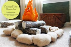 Campfire How-To, for camping or woodland themed room. Logs seats, fire pit, logs, flames, and rocks, all made from fabric. TheRaggedWren.blogspot.com