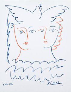 By Pablo Picasso, 1956, Deux femmes à la colombe.
