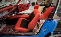 66 mustang interior red black custom console