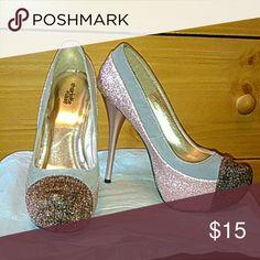 Bedazzled Platform Pumps Shimmery Pink/Grey/Brown platform with pink metallic tone stiletto heels Shoes Heels
