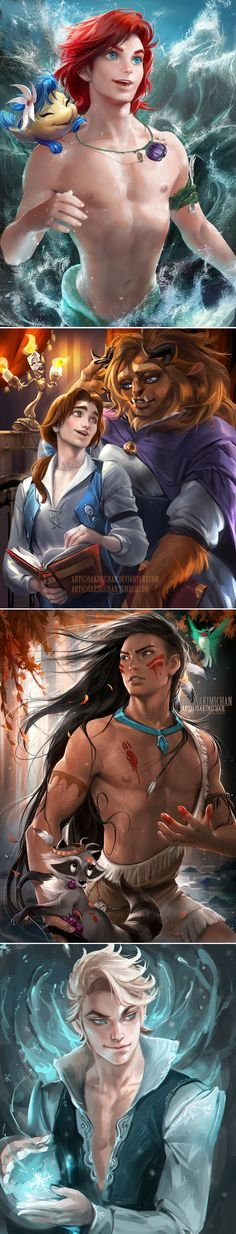 Gender-Flipped Disney Princesses Pretty cool art.