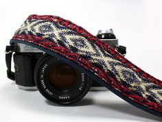 Camera Strap with pocket, dSLR or SLR, Red, Indigo, Navy Blue, White