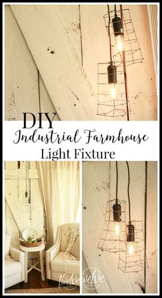 What happens when you marry farmhouse style with industrial style goodness? This DIY Industrial Farmhouse Light fixture is so great! | Twelveonmain.com