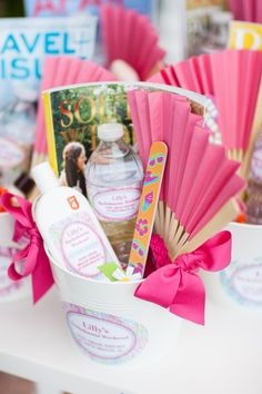 These bachelorette weekend welcome bags by Whitney at Très Chic Southern Weddings & Events are too cute!! Photo by Justin DeMutiis.
