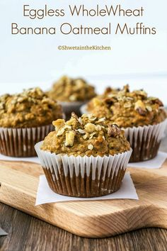 One of the best banana muffins recipe you will ever need! These Eggless Wholewheat Banana Oatmeal Muffins are moist, soft, light, slightly chewy and crunchy and full of banana favor. Even a non-banana lover is going to love these muffins! Eggless Banana Muffins, Best Banana Muffin Recipe, Banana Oatmeal Muffins, Banana Chocolate Chip Muffins, Muffin Recipes, Baby Food Recipes, Oatmeal Cups, Baked Banana, Party Recipes