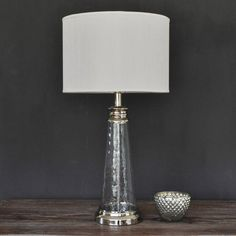 Small Textured Glass Lamp With Linen Shade