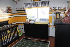 love this football themed nursery...great application for little boys room