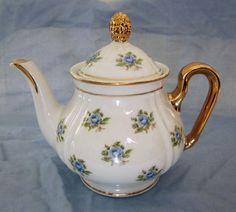 Vintage Tea Pot Gold Leaf & Blue Floral Porcelain by oldstuffnyc, $22.00