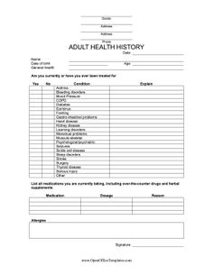 Medical History Printable  Printables    Medical