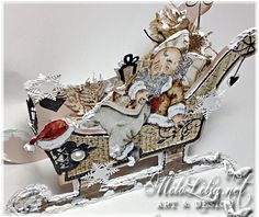 Created by MiloLilja - Sweden Victorian Christmas, Santa Christmas, White Christmas, Christmas Crafts, Scrapbooking, Art Design, Burlap Wreath, Mini Albums, Sweden