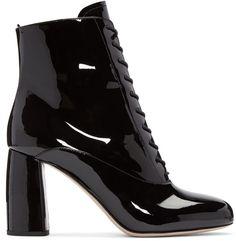 7c8aade5271 Miu Miu Black Patent Ankle Boots Korte Zwarte Laarzen, Zwarte  Enkellaarsjes, Hakken Laarzen,