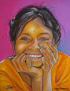 SAFI, le bonheur - Peinture,  30x40 cm ©2011 par Catherine WERNETTE -            Portrait