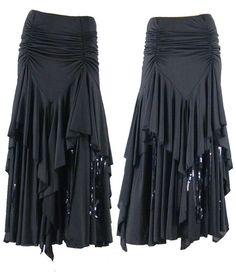 SFS013bk Brand New Ballroom Smooth Tango Full Length Long Dance Dress Skirt