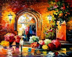 """""""Gallery In The Old City"""" by Leonid Afremov ___________________________ Click on the image to buy this painting ___________________________ #art #painting #afremov #wallart #walldecor #fineart #beautiful #homedecor #design"""