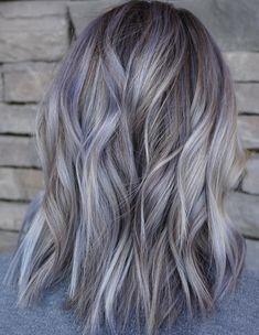 Grey Hair Color Highlights Ideas for Medium Hairstyles 2018