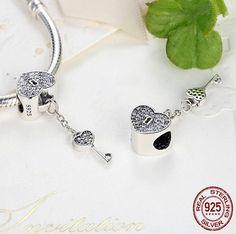 Lock Of Love Charm for Pandora Bracelet Pandora Style Charms, Pandora Bracelet Charms, Love Charms, Fitness Bracelet, Silver Charms, Jewelry Accessories, Fashion Jewelry, Romantic, Charmed