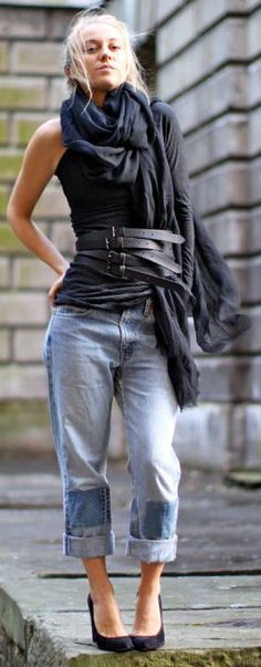 """In no way am I obsessed with fashion, but I love the way boyfriend jeans look w/heels. """"Belt Obsessed Outfit"""""""