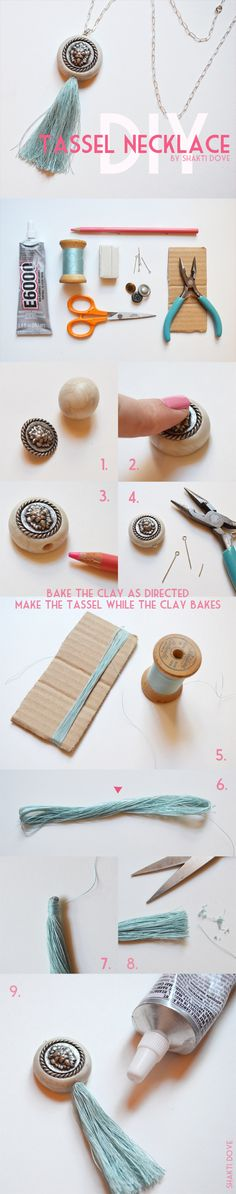 DIY Tassel Necklace - she makes the tassel with sewing thread, what makes it filigree and delicate