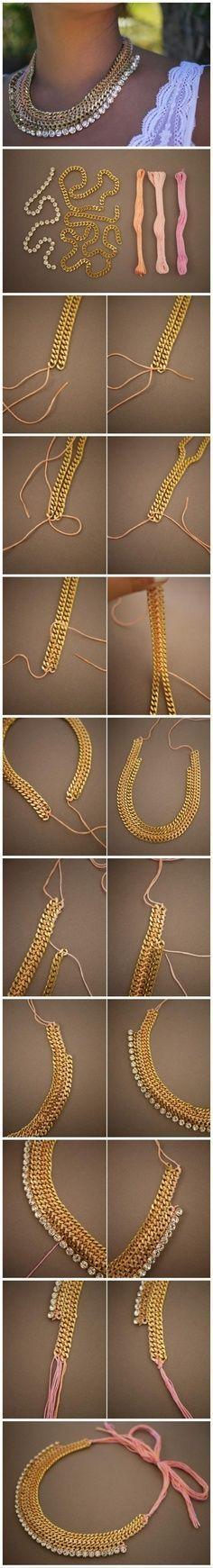 Les bijoux c'est l'accessoire incontournable que chaque femme a dans son dressing. Voici sept tutoriels pour réaliser vos propres accessoires modes ! Bracelet rouge et doré Vous aurez besoin de morceaux...