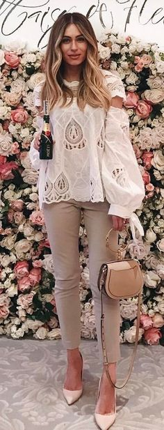 #summer #outfits White Lace Blouse + Mocha Skinny Jeans + Blush Pumps