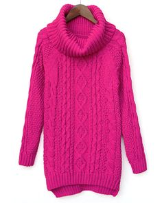 Rose Red High Neck Long Sleeve Cable Knit Sweater US$33.77