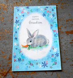 Vintage Card Easter Hallmark Grandson Bunny Blue by TheBackShak, $2.00