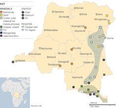 DRC DR Congo natural resources, mineral map. africa. diamonds. gold. colton (cell phones). copper. tin. lead. zinc. coal. uranium. oil.