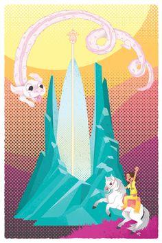 "Neverending Story Falcor and Atreyu 12x18"" art print. $30.00, via Etsy."